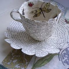scallop paper circle teacup and saucer       /   note: do outer teacup this way