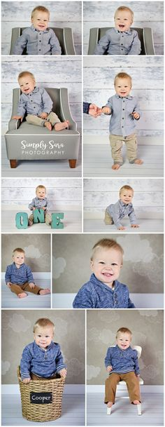 1 Year Old Boy Photo Shoot Ideas & Poses - Indoor Session - Faux Wood Backdrop - Gray Chair - Billings, MT Child & Portrait Photographer