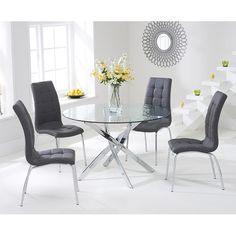 Mark Harris Daytona Glass Round Dining Table with 4 California Brown Dining Chairs Gray Dining Chairs, Glass Dining Table, Dining Table Setting, Glass Dining Set, Round Glass Table, Round Dining Table, Glass Dining Table Set, Brown Dining Chairs, Dining Table Chairs