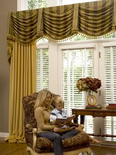 Home Design and Decor , Stu nning Swag Window Valance : Striped Board Mount Swag Window Valance With Bells Drapery Designs, Drapery Ideas, Valance Ideas, Home Curtains, Window Curtains, Curtain Styles, Beautiful Curtains, Custom Window Treatments, Custom Windows