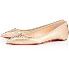 Solasofia Flat  VERSION GOLD Nappa - Women Shoes - Christian Louboutin (4,830 GTQ) ❤ liked on Polyvore featuring shoes, flats, gold ballet flats, gold flat shoes, summer shoes, bow flats and gold ballerina flats