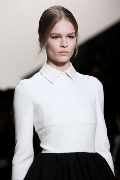Minimal tailored top with chic collar; modern elegant fashion details // Valentino