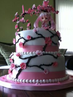 Sakura Miku Hatsune Birthday Cake! I want this for my birthday so badly!!