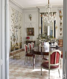 A Floral-Accented Dining Area - ELLEDecor.com
