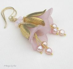 Blush Pink Pearl and Lucite Flower Earrings, Gold Handmade Earwires, Brass…