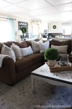 My Summer Home Tour! Sectional SlipcoverLiving Room ColorsLiving Room Ideas Living AreaDark Brown SofasDark ...