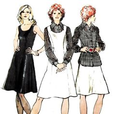 Dress Jumper Blouse 1970s Pattern. Fit Flare. Princess Lines.    sewinghappyplace - Supplies on ArtFire