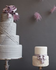Amy Atlas Lavender & Gray Dessert Table With Lavender / Purple Wedding Cake and small side cake