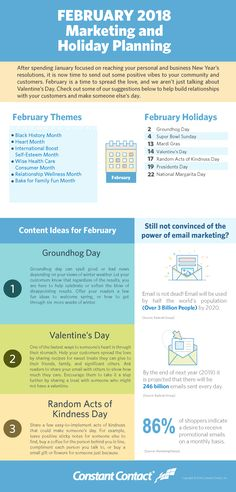 February 2018 Marketing and Holiday Planning Marketing Plan, Marketing Tools, Content Marketing, Digital Marketing, Twitter Tips, Best Email, Holiday Market, Email Campaign, Instagram Tips