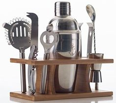 Stock Harbor 9 Piece Stainless Steel Bartender Set with Bamboo Base Kitchen Accessories Cocktail Bar tool Set >>> Check this awesome product by going to the link at the image.