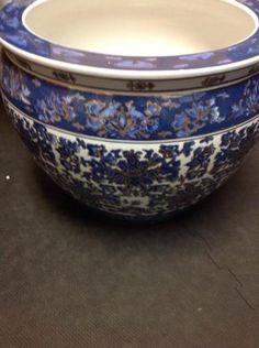 Vintage Large Asian Chinese Porcelain Blue Floor Planter W