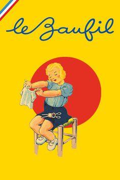 Le logo de la marque de fils à coudre Lebaufil, bien dans le style des années 1950.