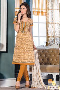 Fashionable orange color art chanderi silk casual salwar suit online shopping at lowest price in India. Buy online this beautiful printed salwar kameez with free shipping charges and COD in India. #salwarkameez, #salwarsuit, #chanderisalwarkameez, #casualsalwarlameez, #printedsalwarkameez,#churidarsalwarkameez, #discountoffer, #pavitraafashion, #utsavfashion, #straightsalwarsuit, #silksalwarsuit,  http://www.pavitraa.in/store/casual-dress/ callus:+91-7698234040
