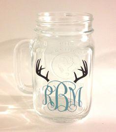 Customized Monogramed Mason Jar Mug on Etsy, $4.00