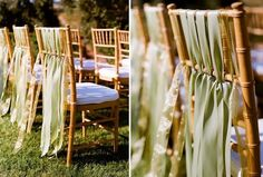 love the ribbon hanging from the chairs!