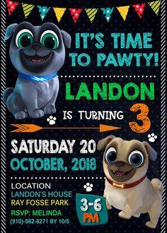 Puppy Dog Pals Invitation, Boy Invitation, Puppy Dog Pals Birthday Invitation, Puppy Dog Pals Boy In 2nd Birthday Party For Boys, Puppy Birthday Parties, Kids Birthday Themes, Puppy Party, 1st Boy Birthday, Bingo, Paw Patrol Birthday, 3d Dog, Birthdays