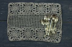Heirloom Collection. Hand Crocheted Linen Placemat