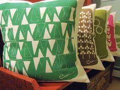 Teal Triangle Decorative Pillow Cushion Hand Drawn and Silk Screened By Erin Flett Contemporary Cushions, Modern Cushions, Small Cushions, Floral Cushions, Embroidered Cushions, Decorative Cushions, Linen Pillows, Throw Pillows, Pillow Fight
