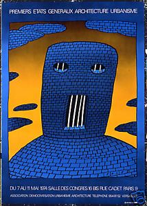 Original Vintage Poster Folon Urban Architecture Jail French 1974