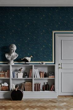 Discover our new collection of boutique wallpaper. Powerful, dramatic and luxourious. Order your wallpaper samples online today. Home Wallpaper, Classic Wallpaper, Striped Wallpaper, Green Wallpaper, Modern Room, Wallpaper Living Room, Blue Wallpapers, Popular Wallpaper, Blue Wallpaper Living Room