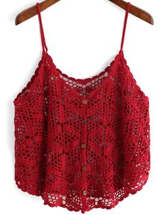 Online shopping for Red Slip Buttons Hollow Cami Top from a great selection of women's fashion clothing & more at MakeMeChic.This Pin was discovered by AnkTo find out about the [good_name] at SHEIN, part of our latest Tank Tops & Camis ready to shop Crochet Cami Tops, Crochet Blouse, Crochet Bikini, Knit Crochet, Adidas Nmd R1 Damen, Red Cami Tops, Tank Tops, Gilet Crochet, Crochet Woman