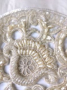 Pearl Beaded Bridal Short Sleeves  Couture Fabric by IntlPleating