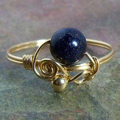 Sun Sitara Blue Goldstone Glass Swirl Bead Ring Wire by WyreWorks, $10.00