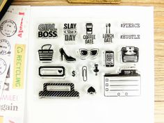Clear Stamps - Girl Boss, Top3 , journal planning stamps, diary stamp, transparent stamps, busy girl stamps set , tab stamps