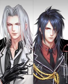 Lovely art, both look so handsome~Though I don't ship them (Sephiroth, Vincent Valentine)