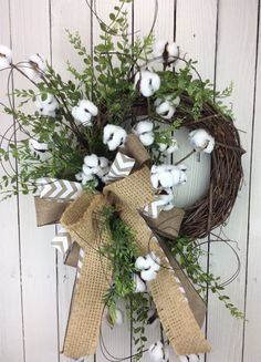 Cotton Wreath Cotton Boll Wreath Preserved Cotton Wreath by Keleas