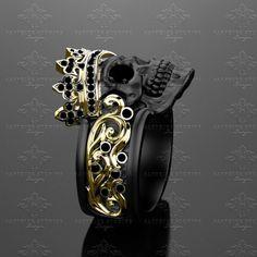 castiel-noir-mens-black-diamond-skull-ring ring boho fashion for teens vintage wedding couple schmuck verlobung hochzeit ring Unique Diamond Rings, Diamond Wedding Rings, Unique Rings, Ruby Wedding, Wedding Band, Skull Jewelry, Silver Jewelry, Fine Jewelry, Men's Jewelry