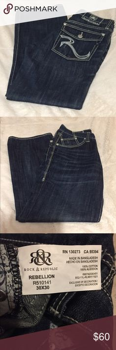 Men's Rock Republic 30x30 Jeans! NWOT! Husband ordered these offline a month ago, took the tags off and found out they were the wrong size later. He's never worn them, other than to try them on. These Jeans do have some minor distressing, they came directly from R&R like that. They're practically brand new, just don't have tags. They're size 30x30, and were $145 Brand New. Offers are welcomed but, please be reasonable. No, Trades Please. 😊 Rock & Republic Jeans Relaxed