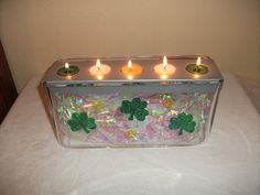 """Partylite Customizable Centerpiece decorated for St. Patrick's Day with iridescent """"tissue"""" paper from Dollar Tree and gel clings."""