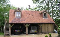 Best-selling garden buildings like log cabins, wooden garages, carports, garden offices, wooden gazebos and other houses at the best price directly from manufac Oak Framed Buildings, Timber Buildings, Garden Buildings, Garage With Room Above, Timber Frame Garage, Aluminum Carport, Large Sheds, Big Sheds, Carports