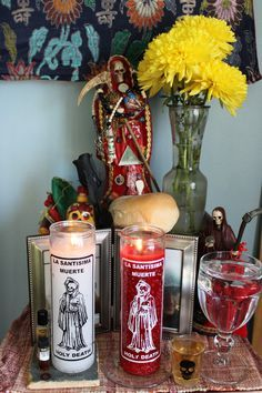 My shrine to La Santa Muerte Roja in the light of day. Santa Muerte Altar, Santa Muerte Prayer, Voodoo, Mexico Day Of The Dead, Moon In Leo, Traditional Witchcraft, Mother Goddess, Orisha, World Religions