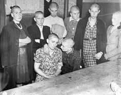 """""""Women accused of collaborating with the Germans wait to be marched through the streets of Grave by the Dutch resistance. The womens' heads were shaved in preparation for their public humiliation."""" Photo credit: Netherlands National Archives"""