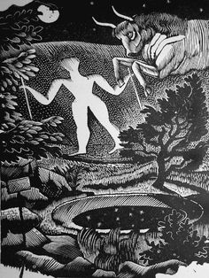 """The Long Man of Wilmington"" by Eric Ravilious. The illustration is taken from the ""Almanack 1929"" for the Lanston Monotype Corporation. Ravilious placed mythical figures relating to each month against his characteristic Sussex landscapes. This is his illustration for May."