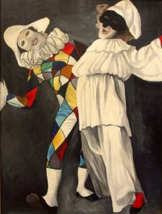 Arlecchino (left) - One of the two zanni stock characters he is agile of mind and body and is best remembered for his costume with a diamond design.