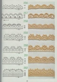 free crochet patterns for crochet borders Crochet Edging Patterns, Crochet Lace Edging, Crochet Borders, Crochet Diagram, Crochet Chart, Filet Crochet, Diy Crochet, Crochet Designs, Knitting Patterns