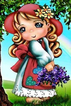 Cartoon Crazy, Cartoon Kids, Girl Cartoon, Cute Cartoon, My Little Nieces, Decoupage Vintage, Sarah Kay, Holly Hobbie, Baby Prints