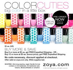 Zoya Nail Polish - Spring Color Cuties  Spring just got even more colorful with Zoya ColorCuties! The Zoya Color Experts selected 12 best-selling Spring inspired shades to offer in an adorable mini size (0.25oz) with a coordinating polka-dot box, for a limited time. ColorCuties make perfect Spring gifts for Easter baskets, Mother's Day, Spring weddings and more! Collect all 12 colors while they last...