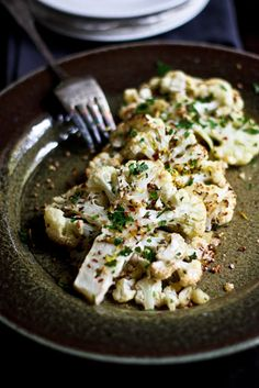 feasting at home: Roasted Cauliflower with Coriander, Caraway and Garlic...vegan and gluten free!