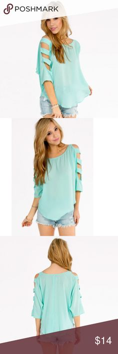 Cut out Tobi Top Flowy mint ladder cut out tobi top. So cute for the spring summer or fall! Tobi Tops