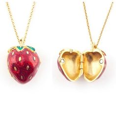 Bill Skinner Summer Strawberry Locket Pendant Necklace – Lush Labels #ShopifyPicks