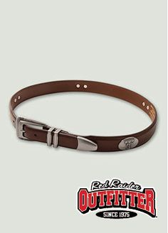 Double T Conchos on Brown Leather Belt. Also comes in Black. #RedRaiderOutfitter #TexasTech #RedRaiders #ttu