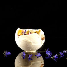 Matthias Mittermeier's Yoghurt Ball Recipe | FOUR Magazine yogurt/coconut/yuzu/raspberry yogurt ball Raspberry Panna cotta microwave chocolate sponge cake Yuzu Mocha cream Red berry jelly cube coconut caviar Yuzu meringue red berry chips Raspberry-yuzu sorbet