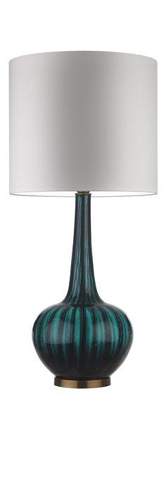 Modern Blue Table Lamp Sophisticated Design Glass Bottle Base Velvet Shade