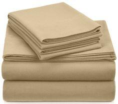 Deep Pocket Flannel Sheets Queen 4 Pc Set Flat Sheet Fitted 2 Pillowcases Tan #Pinzon