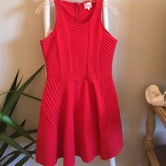 Parker dress Ruby red A Line Parker dress! Only worn once to a family dinner but just don't love red on me. Thick material so it's super flattering Parker Dresses Asymmetrical