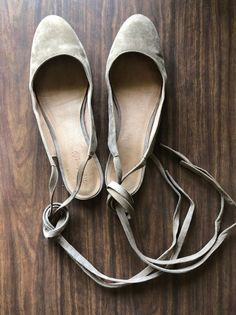 59bbd32c6a9 Madewell April Ankle Wrap Flats Taupe Tan Suede Women s Size 10  fashion   clothing